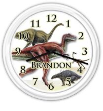Dinosaur Wall Clock PERSONALIZED Boy Girl Child Decor Kids Bedroom PlayRoom GIFT