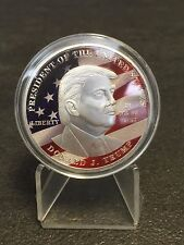 1 oz Medaille Präsident Donald Trump Neusilber Farbe 31,1 Gramm Farbedition