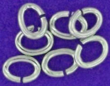 10 STRONG HEAVY STERLING SILVER OPEN OVAL JUMP RINGS, 5 MM, 0.8 WIRE