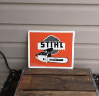 Stihl Chainsaw Metal Sign Power Tools Vintage Look Garage Shop 10x12 50113