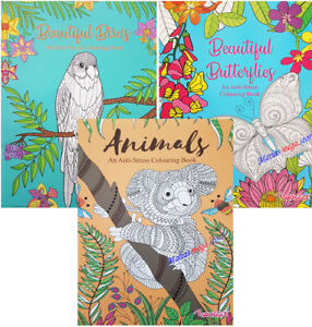 ADULT ANTI-STRESS Colouring Book Books - ANIMALS BIRDS - BUTTERFLIES - ALL AGES