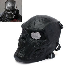 Outdoor War Game Paintball Airsoft Cacique Metal&Mesh Full Face Mask - Black God