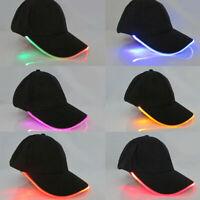 Fashion Black Luminous Caps LED Light Baseball Hat Fiber Optic Shiny Hats Unisex