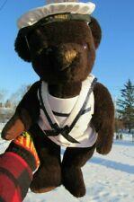 VINTAGE TEDDY BEAR 16'' DK BROWN MOHAIR SS NISBET SAILOR HAT COAT MADE ENGLAND