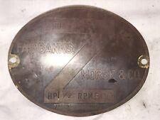 "1 1/2 H.P. Brass Tag Headless Fairbanks Morse ""Z"" Hit Miss Engine Brass"