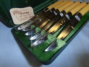 VINTAGE MID-CENTURY~PEEREDGE~6 PIECE KNIFE SET~ORIG. METAL CASE W/PAMPHLET