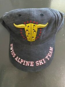 SWISS ALPINE SKI TEAM HAT - EMBROIDERED WITH COW CHEESE LOOK - ADJUSTABLE