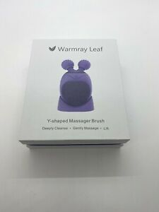 Warmray Leaf Sonic Facial Y Shape Massager Brush Cleanse with Timer Violet New