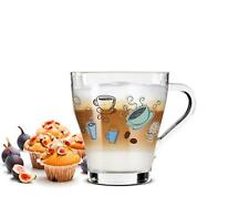 6 Cappuccino Tassen und 6 Löffel Kaffeegläser Teegläser bunter Kaffee-Aufdruck