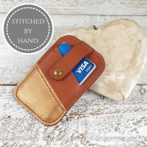 Brown Woman Snap Wallet Small Credit Business Card Holder Handmade Leather Gift