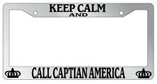 Chrome METAL License Plate Frame KEEP CALM AND CALL CAPTAIN AMERICA Auto