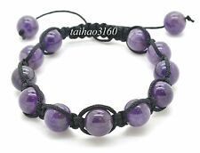 Natural 10mm Amethyst Stone Gemstone Round Beads Adjustable Shamballa Bracelet