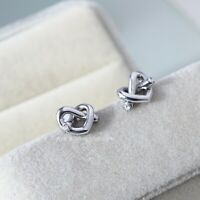 Kate Spade Crystal Accented Love Knot Stud Earrings - Silver Tone