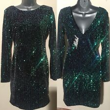 Women's Motel Rocks Green Sequin Long Sleeve Stretch Mini Dress UK 12 Size L