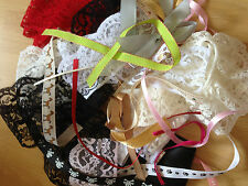 Large Bundle 100g Ribbon/Lace/Bead Offcuts & Bows  - Great for crafting