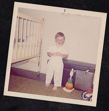 Vintage Photograph Adorable Little Boy Standing By Crib in Bedroom