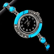 Sterling Silver 925 Genuine Cabochon Turquoise and Marcasite Watch 7.5 Inch #3