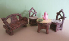 New listing Miniature Fairy Garden Rustic Wood Look Table Chairs Bench Tea Cookies Set