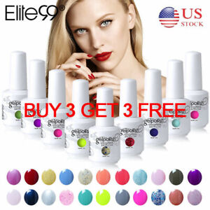 Elite99 UV LED Color Gel Nail Polish Manicure Lacquer Top Base Coat Set 15ML