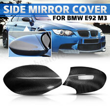 Pair Real Carbon Fiber Add-on Side Merror Cover Caps For BMW E92 E93 M3