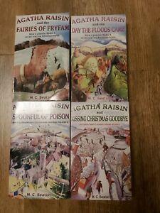 M C Beaton x 4 Agatha Raisin paperback books bundle