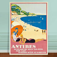 "Stunning Vintage France Travel Poster Art ~ CANVAS PRINT 16x12"" Antibes Beach"