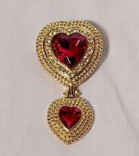 Vtg Victoria's Secret Gold-tone & Red Glass Crystal Dangle Heart Pin Brooch