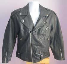 VTG Mens Unbranded Black Leather Biker Style Jacket Size Small (C16)