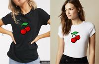Ladies CHERRY CHERRIES Short Sleeve T-Shirt Summer Casual Fruit CUTE Fashion