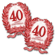 2 Happy 40th Ruby Red Anniversary Party Glitter Plastic Cutouts Decorations