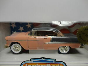 ERTL American Muscle 1955 CHEVY BEL AIR Pink & Gray '55 1:18 scale