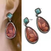 Vintage Turquoise Alloy Ear Stud Dangle Bohemian Earrings Wedding Women Jewelry