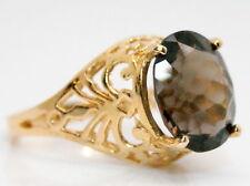 14K Gold Filigree Large Oval 4 Ct Smokey Quartz Scorpion Solitaire Ring Size 6