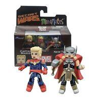 Marvel Action Figure Minimates Secret Wars Captain Marvel and Thor Diamond Selec