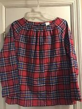 Crewcuts Girls Red Plaid 100% Cotton Bow In Back Holiday Top Size 14