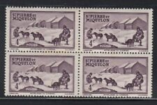 ST. PIERRE & MIQUELON Dog Sled Team 4c MNH block of 4