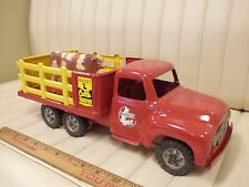 1957 BUDDY L Cattle Transport Stake Truck Pressed Steel Toy w/ Cow