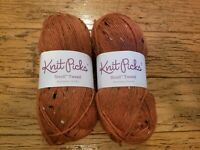 2 skeins KNIT PICKS Stroll Tweed Persimmon Heather same lot # 50 g knit crochet