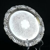 ANTIQUE SILVERPLATED ORNATE GRAPE VINE PATTERN PLATE/TRAY 9 INCH MARKED L.B.