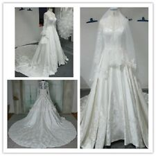 collection satin lace Kate royal luxury A-line long train bridal wedding dress