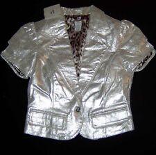 LEDERBLUSE Phosphorus Lederjacke kurz Bolero Metallic Silber 34 XS