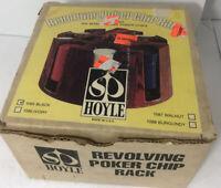 Vintage HOYLE Revolving Poker Chip Rack BLACK Plastic with Chips Original Box