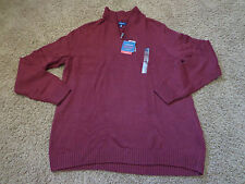 CROFT & BARROW men's NWT sz 3XLT dark cherry mock neck 1/4 zipper LS sweater