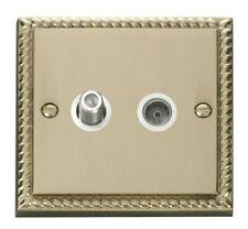 Georgian Brass 1-Gang TV/Coaxial Socket Home Electrical Fittings
