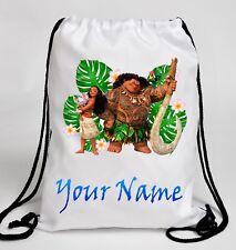 Personalised DISNEY MOANA Drawstring Swimming Gym Dance School Bag Rucksack