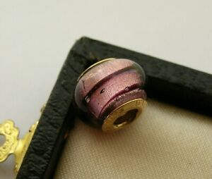 ITALIAN 9K / 9CT GOLD PINK WINE RED STRIPED MURANO GLASS BEAD FOR CHARM BRACELET
