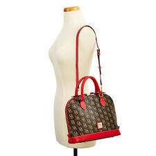 Dooney & Bourke Red Brown Zip Satchel Shoulder Tote Crossbody 1975 Signature New