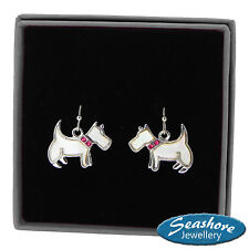 Westie Dog Earrings Mother of Pearl Silver Fashion Shell Jewellery 20mm Drop
