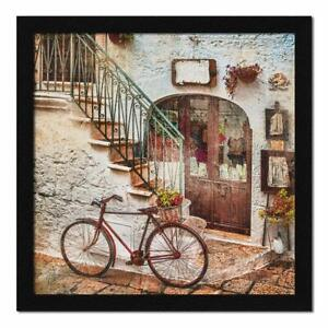 Paper Vintage City Street Abstract Wall Art Framed Painting 13 x 13 inch