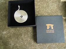 Silver plated spiral water vortex energiser Pendant Wicca Pagan Spiritual